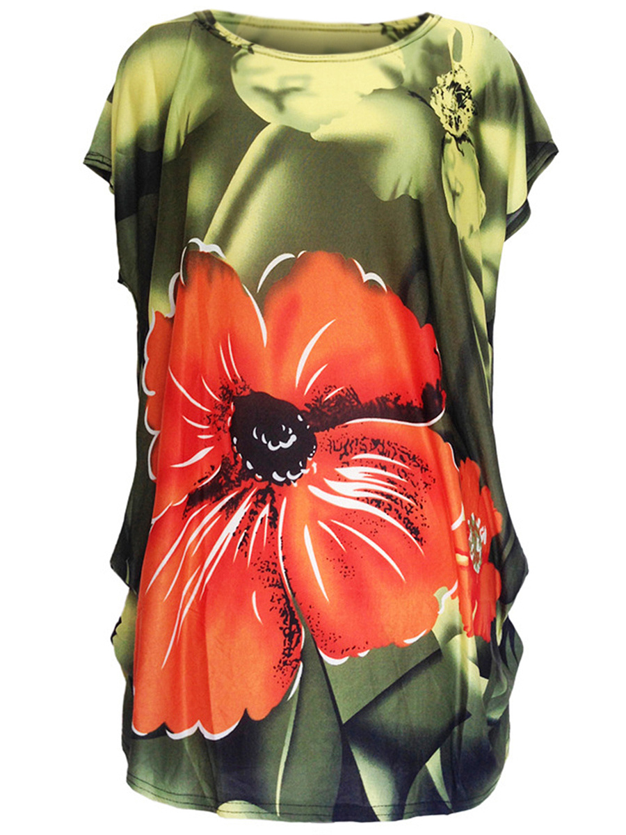 Round Neck  Floral Printed Longline Short Sleeve T-Shirt