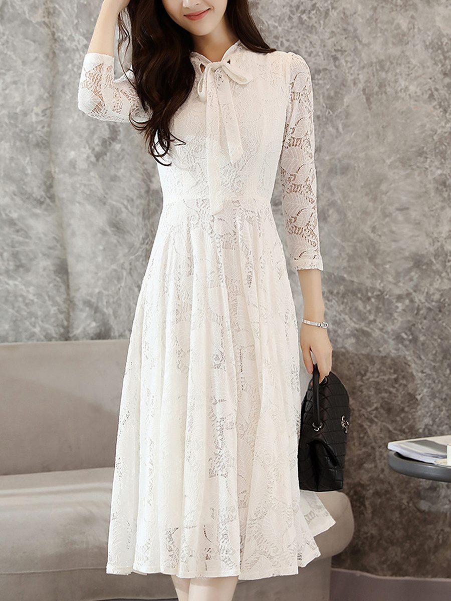 Band Collar  Bowknot  Lace  Lace Maxi Dress