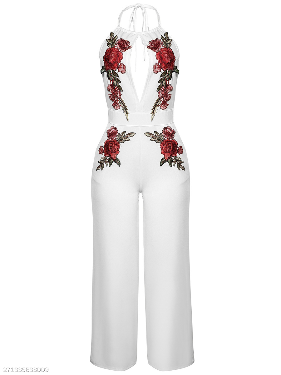 Halter  Backless  Embroidery Hollow Out Glamorous  Wide-Leg Jumpsuit