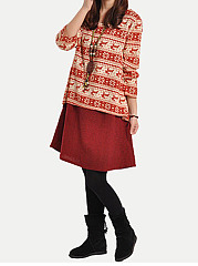 Round Neck Casual Daily Printed Shift Dress