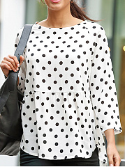 Round Neck  Loose Fitting  Dot Long Sleeve T-Shirts