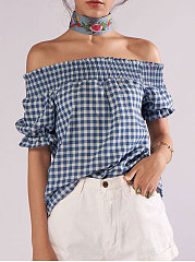 Summer  Polyester  Women  Open Shoulder  Plaid  Short Sleeve Blouses