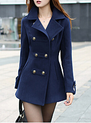 Lapel Woolen Double Breasted Pocket Plain Coat