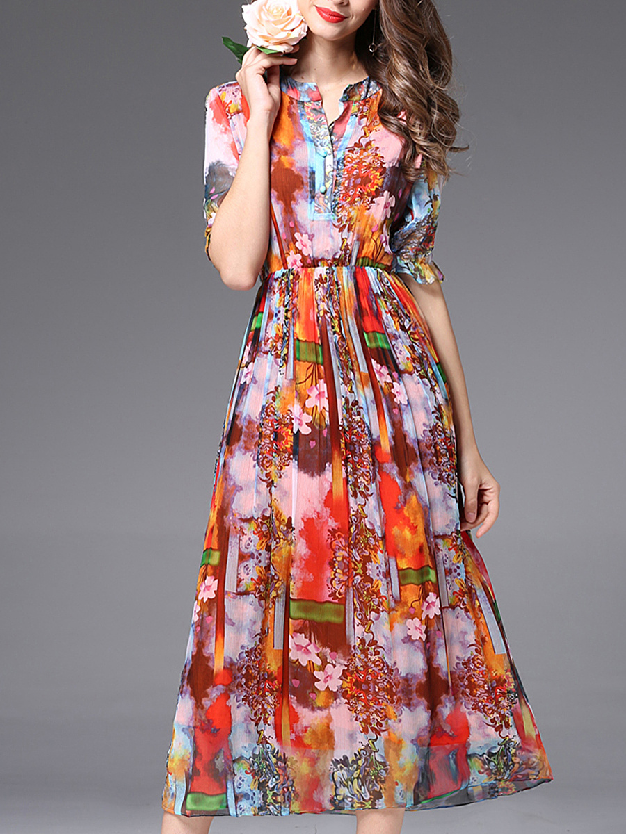 Split Neck Printed Elastic Waist Chiffon Maxi Dress