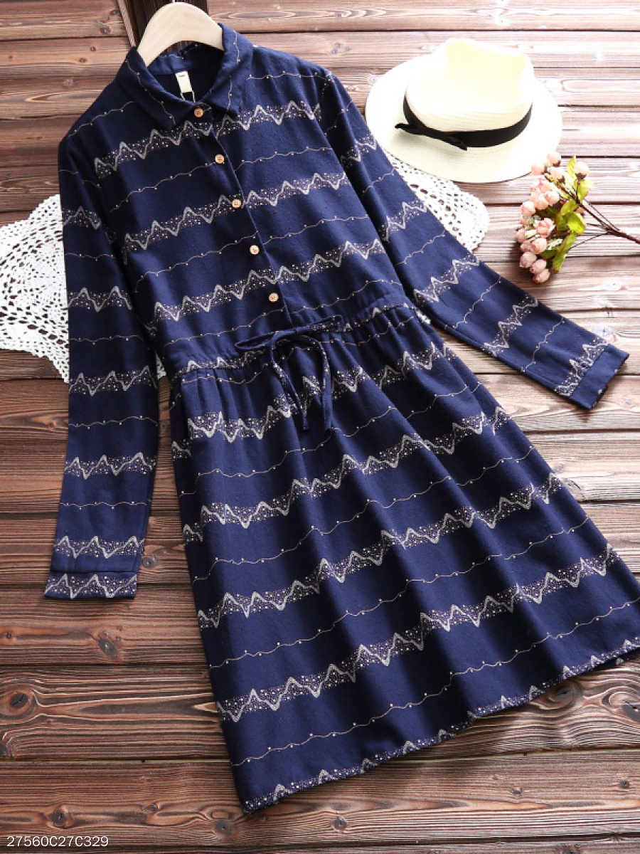 Fold-Over Collar  Drawstring  Decorative Button  Printed Skater Dress