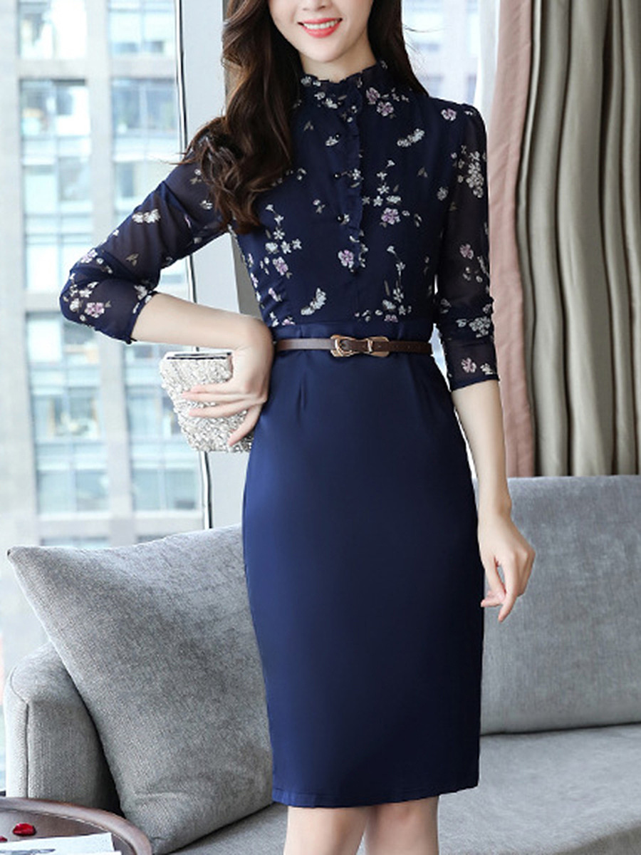 Band Collar Printed Belt Slit Bodycon Dress
