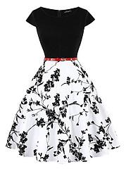 Round-Neck-Belt-Printed-Skater-Dress