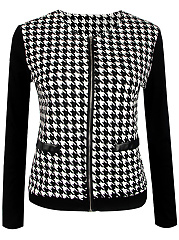 Collarless  Patchwork  Houndstooth Jacket
