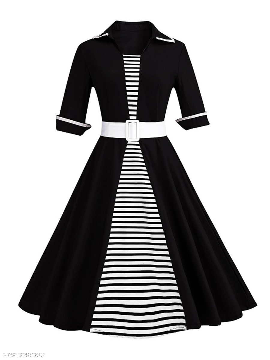 e28514bed8847 Striped Contrast Trim Belt Plus Size Flared Dress - fashionMia.com