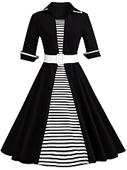 Striped Contrast Trim Belt Plus Size Flared Dress