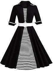 Striped-Contrast-Trim-Belt-Plus-Size-Flared-Dress