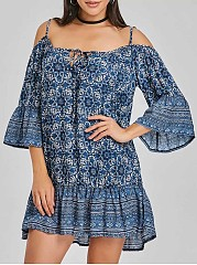 Spaghetti-Strap-Printed-Polyester-Shift-Dress