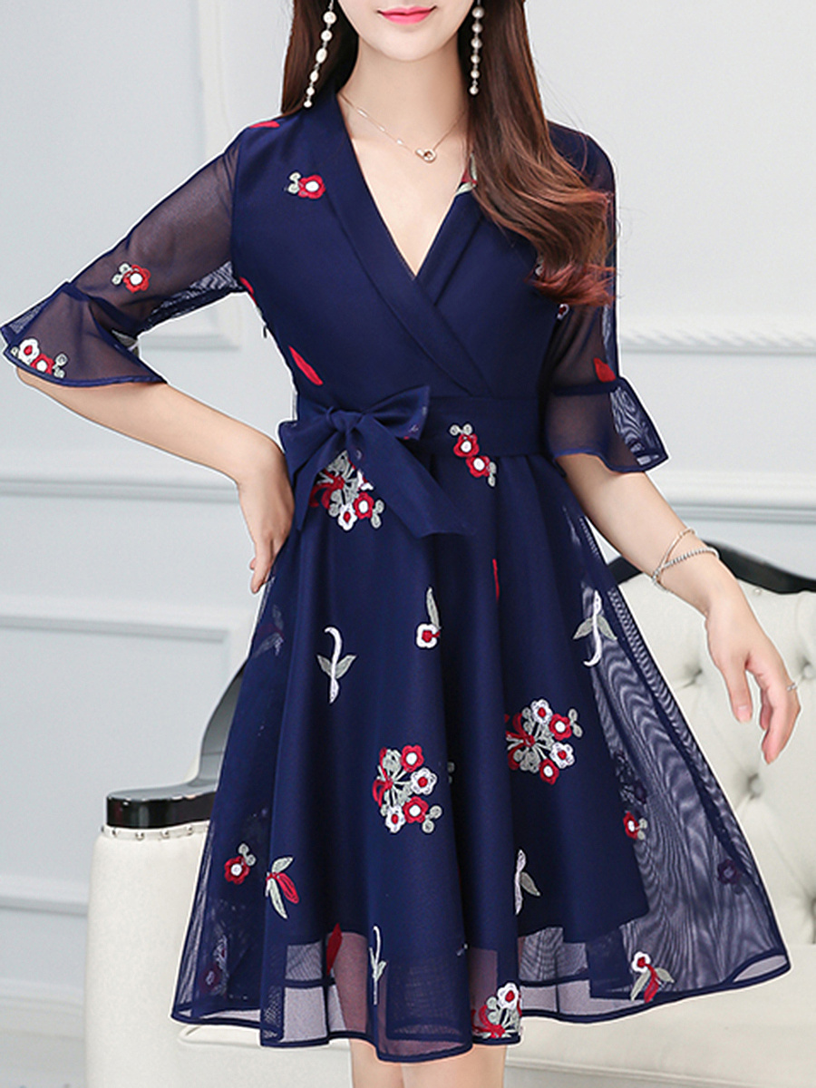 V-Neck  See-Through Embroidery Bell Sleeve Shift Dress