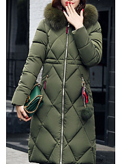 Hooded  Slit Pocket Zipper  Plain Coats