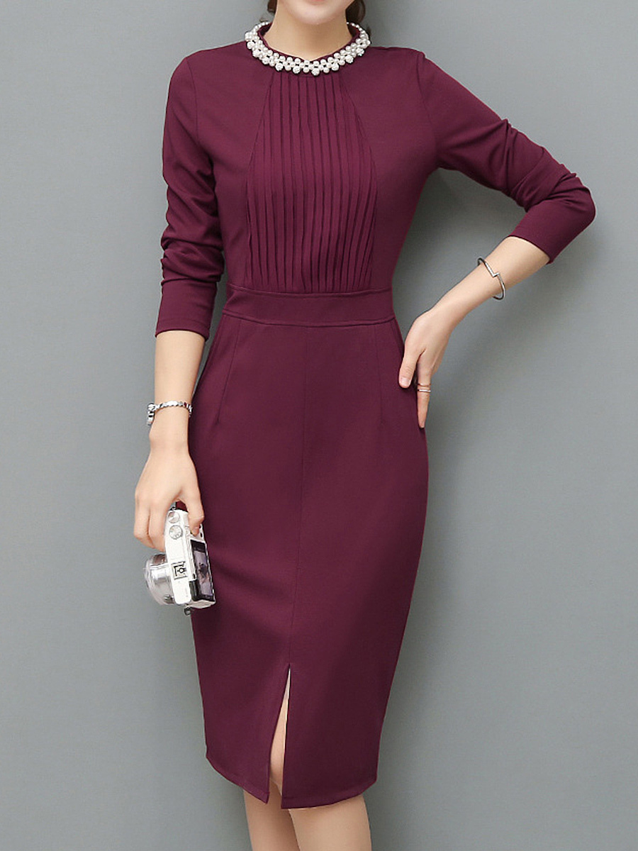 Band Collar Beading Pocket Plain Slit Bodycon Dress