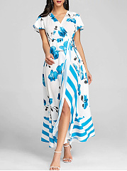 Polyester  Surplice  Printed Maxi Dress