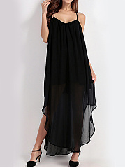 Spaghetti Strap  Asymmetric Hem Backless  Plain Maxi Dress