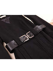 Round Neck  Belt Belt Loops  Plain Coats