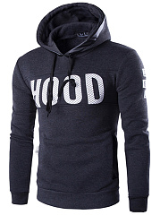 Trendy Drawstring Letters Printed Men Hoodie