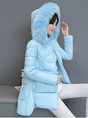 Hooded Patch Pocket High-Low Quilted Plain Padded Coat
