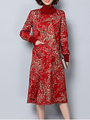 Turtleneck-Printed-Patch-Pocket-Maxi-Dress