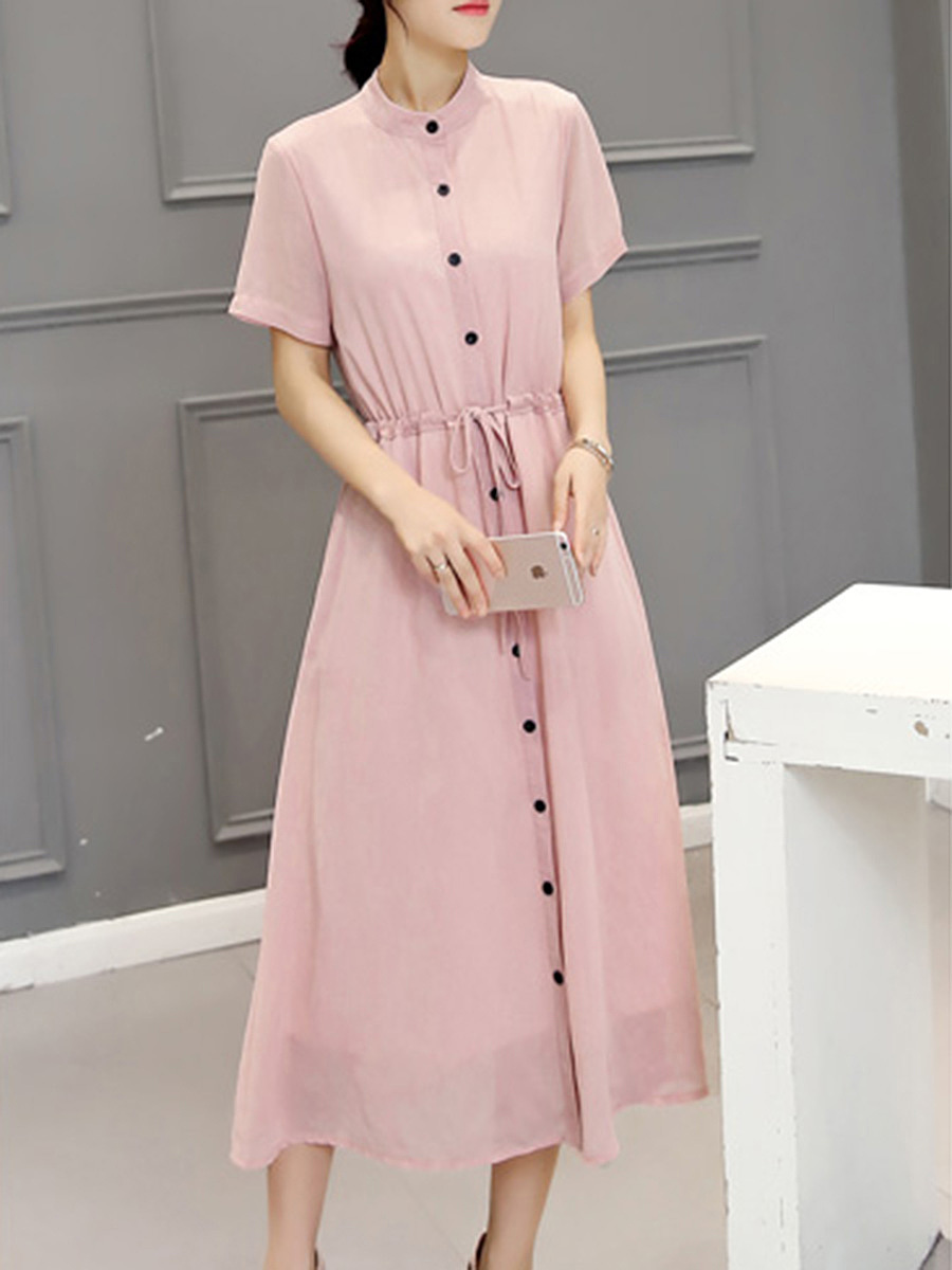 Band Collar Drawstring Button-Through Plain Maxi Dress