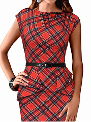 Boat Neck  Plaid Bodycon Dress