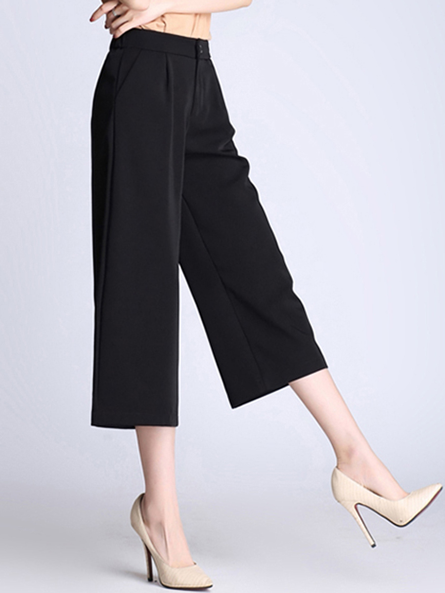 Solid Pocket Cropped Wide-Leg Casual Pants In Black