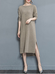 Boat-Neck-Plain-Side-Slit-High-Low-Knitted-Maxi-Dress
