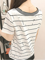 Summer  Polyester  Women  V-Neck  Striped Short Sleeve T-Shirts