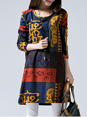 Multi-Color-Tribal-Printed-Round-Neck-Pocket-Shift-Dress