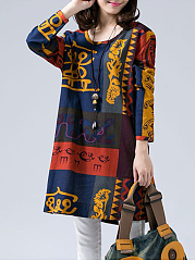 Multi-Color Tribal Printed Round Neck Pocket Shift Dress