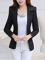 Notch Lapel Graceful Single Button Plain Blazer