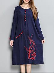 Round-Neck-Embroidery-CottonLinen-Maxi-Dress
