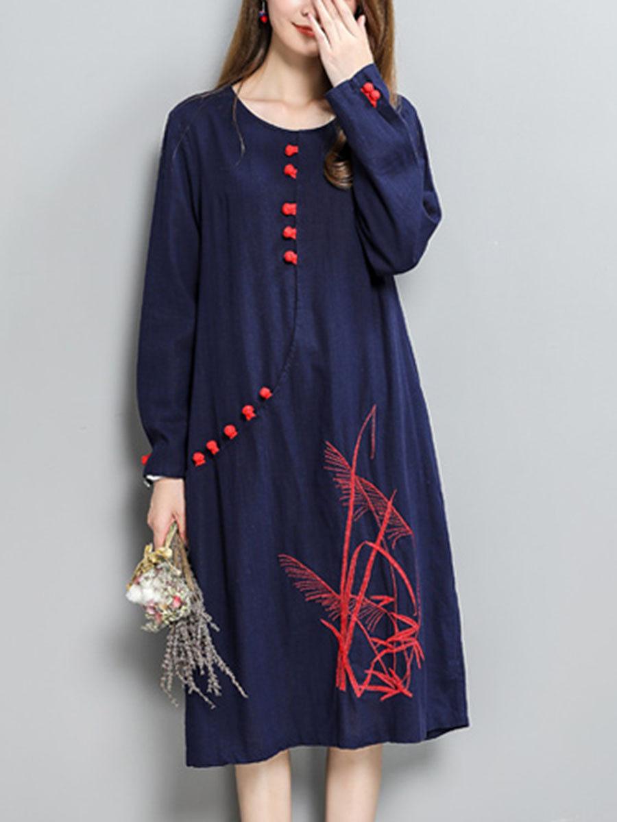 Round Neck Embroidery Cotton/Linen Maxi Dress. Round ...