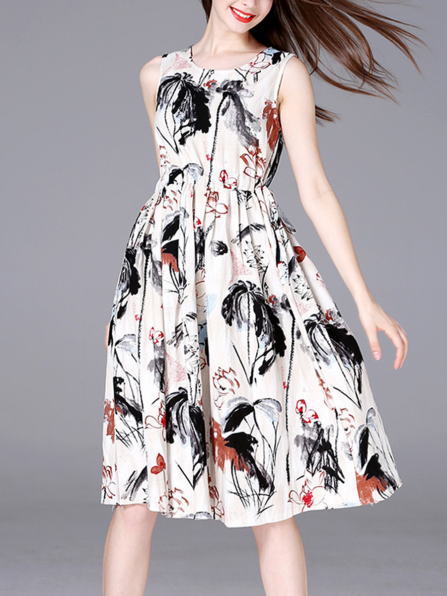 Round Neck Drawstring Printed Midi Skater Dress