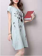 Round Neck  Slit Pocket  Printed  Sack Shift Dress