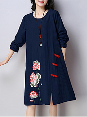 Round-Neck-Slit-Embroidery-Pocket-Shift-Dress