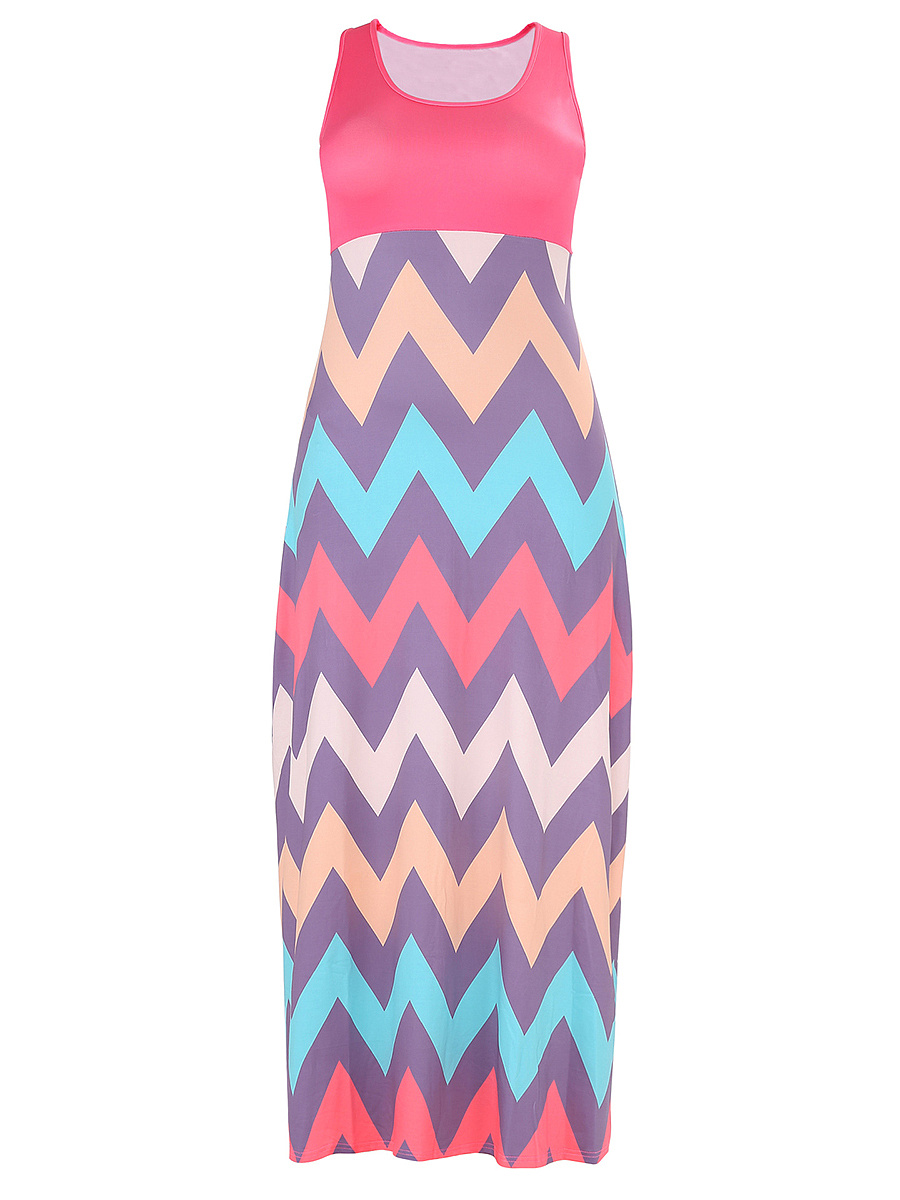 Round Neck Zigzag Striped Plus Size Maxi Dress