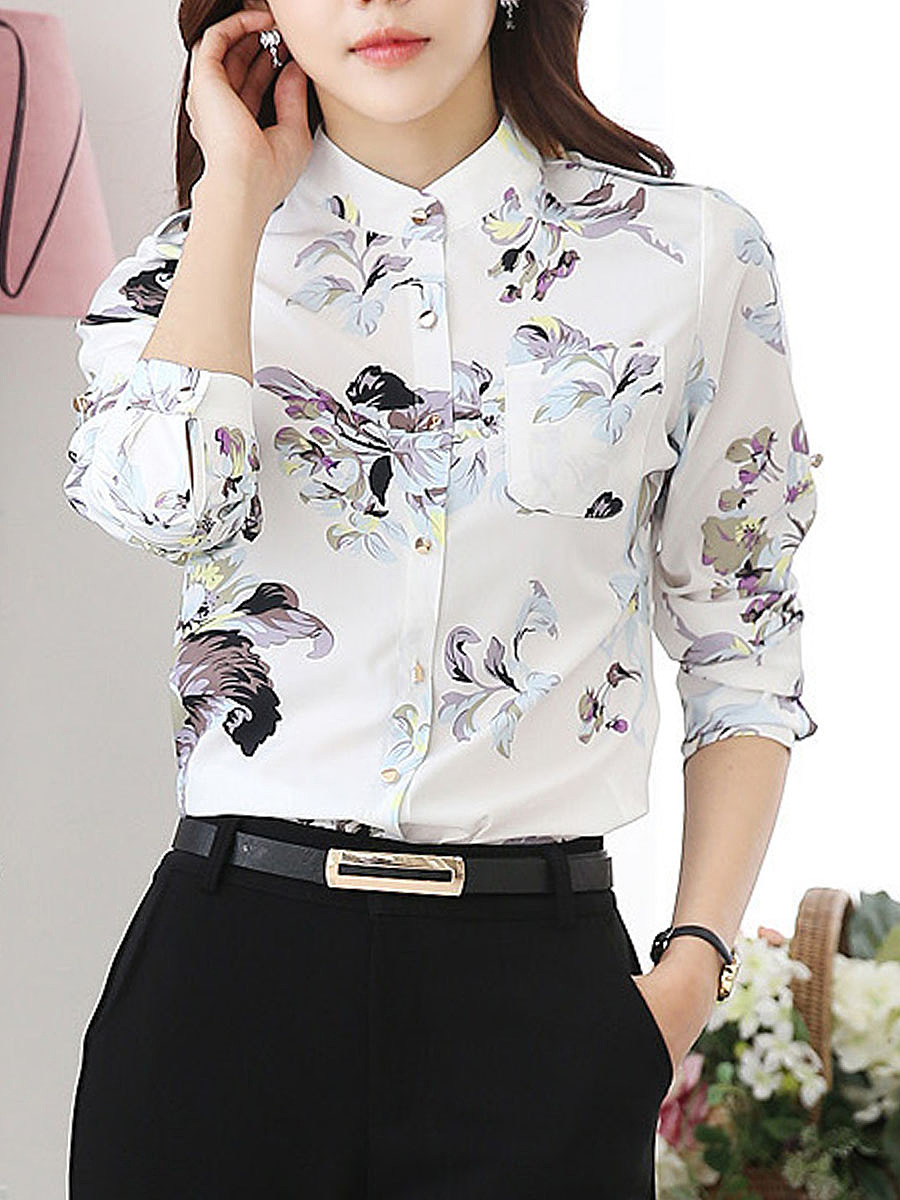 Band Collar Floral Printed Roll-Up Sleeve Blouse