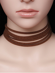 Layers Black Leather Choker Necklace