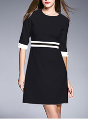 Round Neck Striped Half Sleeve Skater Dress