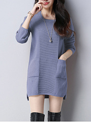 Round Neck  Plain  Cotton Blend Shift Dress