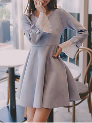 Round-Neck-Bowknot-Bell-Sleeve-Faux-Suede-Skater-Dress
