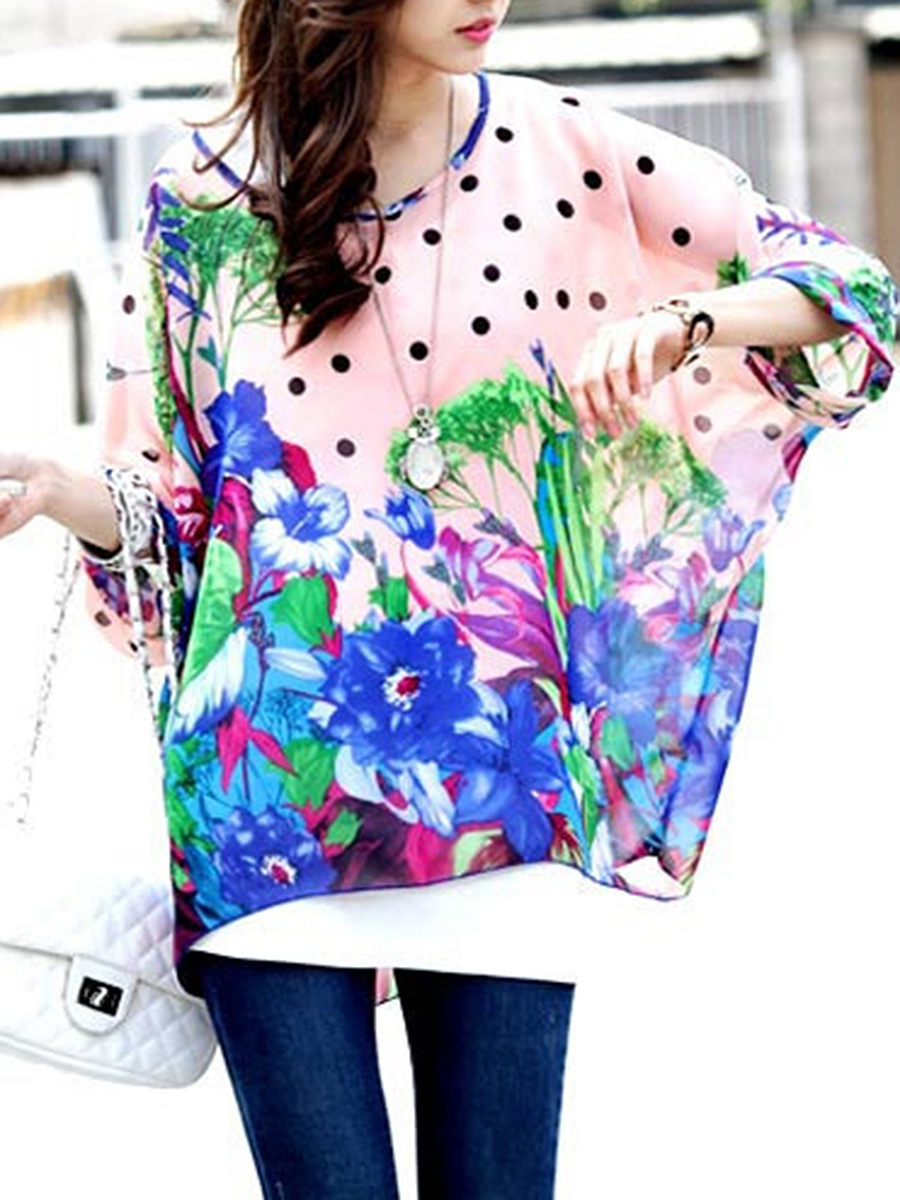 Floral Polka Dot  See-Through  Batwing Sleeve Tunic