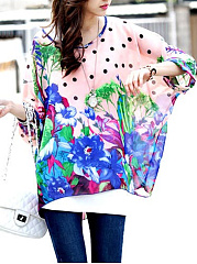 Floral-Polka-Dot-See-Through-Batwing-Sleeve-Tunic
