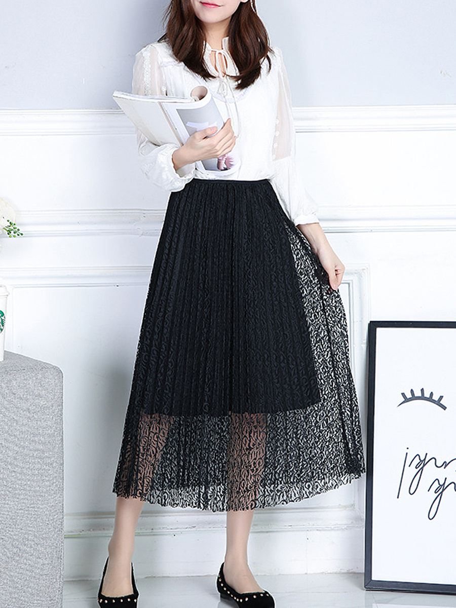 Elastic Waist Hollow Out Pleated Midi Skirt