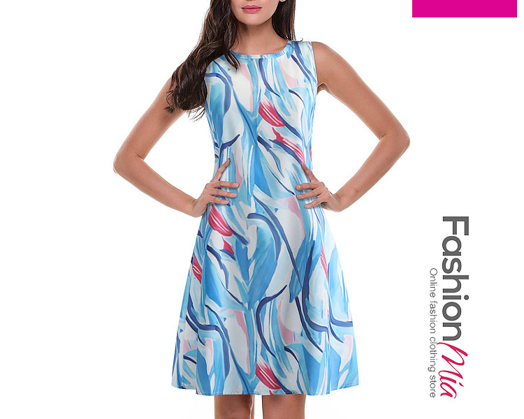 Image of Round Neck Camouflage Printed Skater Dress