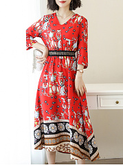 Spring Summer V-Neck  Printed Maxi Dress