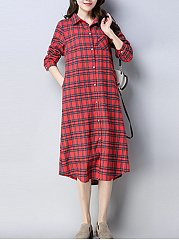 Turn-Down-Collar-Plaid-Curved-Hem-Pocket-Shirt-Dress